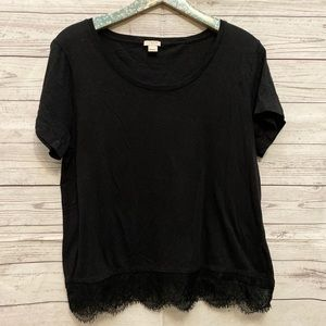 J. Crew | black lace hem T-shirt